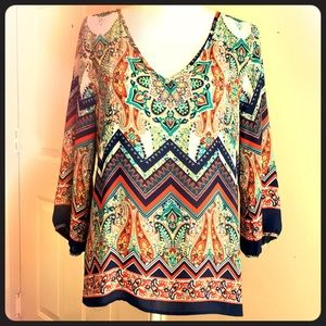 Renee C. Long Sleeve Print Blouse L